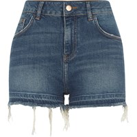 River Island Blue Released Hem High Waisted Denim Shorts