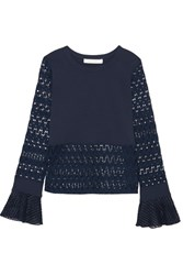 See By Chloe Embroidered Tulle Trimmed Stretch Jersey And Open Knit Top Navy