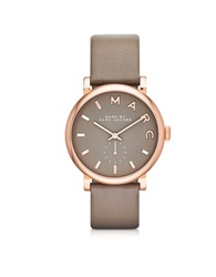 Marc By Marc Jacobs Baker 36 Mm Gray Leather Strap And Rose Gold Stainless Steel Women's Watch