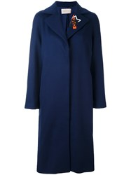 Christopher Kane Rose Embroidered Collar Coat Blue