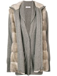 Liska Fur Layered Cardigan Nude And Neutrals
