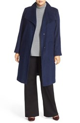Bernardo Plus Size Women's Textured Long Coat Evening Blue