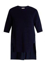 Moncler Contrast Panel Round Neck Cotton Top Navy