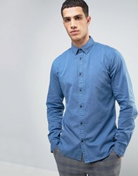 Solid Chambray Shirt In Faded Wash And Regular Fit Blue