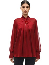 Max Mara Knotted Silk Satin And Chiffon Shirt Red
