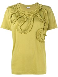 Dries Van Noten Frilled Trimmed Harchar T Shirt Yellow And Orange