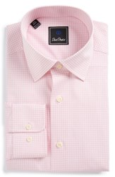 David Donahue Men's Big And Tall Regular Fit Check Dress Shirt White Pink