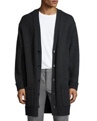 Vince Long Heathered V Neck Cardigan Charcoal H Shadow