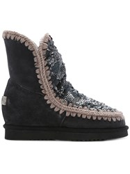 Mou Sequin Inner Wedge Boots Sheep Skin Shearling Wool Rubber Grey