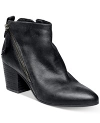 Steve Madden Women's Jaydun Zipper Block Heel Booties Women's Shoes Black Nubuck