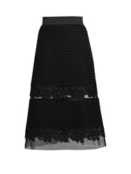 Dolce And Gabbana Sheer Insert Lace Midi Skirt Black