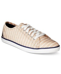 Nautica Women's Lanyard Canvas Sneakers Women's Shoes Beige Stripes