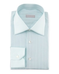 Stefano Ricci Contrast Collar Striped Dress Shirt Mint