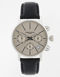Simon Carter Chronograph Black Leather Strap Watch