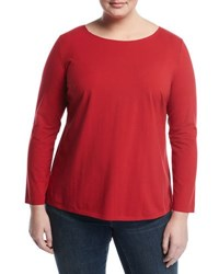 Lafayette 148 New York Long Sleeve Knit Tee Red