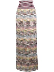 Missoni Striped Straight Long Skirt Nude And Neutrals