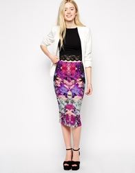 Girls On Film Marble Print Pencil Skirt Multi