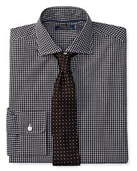 Polo Ralph Lauren Checked Stretch Poplin Slim Fit Button Down Shirt Black White