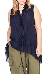Rachel Roy Plus Size Women's Asymmetrical Flounce Top True Navy