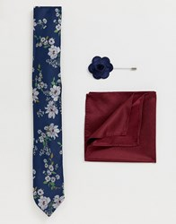 New Look Tie With Pocket Square And Lapel Pink Set In Navy Floral Print