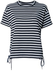 Sacai Striped Lace Up T Shirt Blue