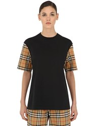 Burberry Cotton T Shirt W Check Sleeves Black
