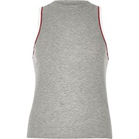 River Island Womens Grey Ribbed Sports Tank Top