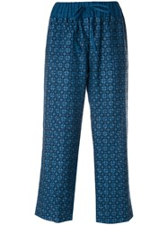 Vita Kin Embroidered Cropped Trousers Linen Flax Blue