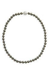 Majorica 8Mm Round Simulated Pearl Strand Necklace Grey