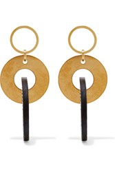 Marni Gold Tone And Leather Earrings