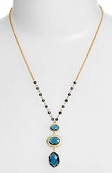 Women's Nordstrom 3 Stone Pendant Necklace Montana Blue Gold