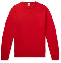 Aspesi Slim Fit Loopback Cotton Cashmere And Wool Blend Sweater Red