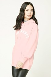 Forever 21 Non Merci Graphic Hoodie Pink White
