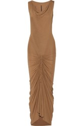Rick Owens Lilies Merylin Ruched Stretch Jersey Maxi Dress Tan