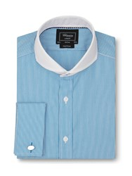T.M.Lewin Fully Fitted Stripe Collar Shirt Aqua
