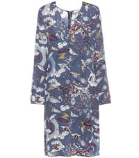 Dorothee Schumacher Fantastic Journey Printed Silk Blend Dress Blue