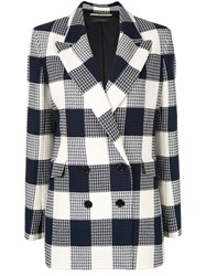 Roland Mouret Waffled Checked Blazer Blue