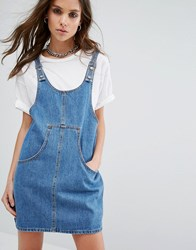 Noisy May Dungaree Dress Mid Wash Blue