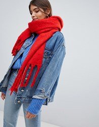 Oasis Knitted Scarf With Tassels In Orange Mid Oge