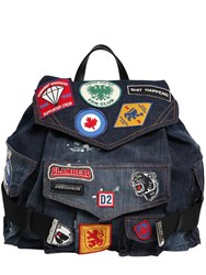 Dsquared Military Glam Patches Denim Backpack