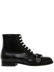 Gucci Lace Up Brogue Belted Leather Boots