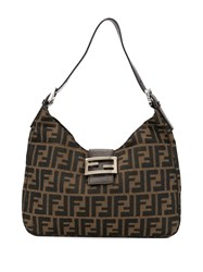 Fendi Vintage Zucca Pattern Small Hobo Bag Brown