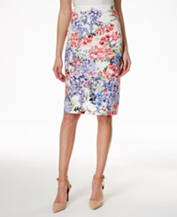 Charter Club Petite Floral Print Pencil Skirt Only At Macy's Bright White