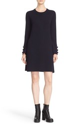 See By Chloe Women's Long Sleeve Knit Wool Shift Dress Navy