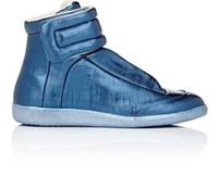 Maison Martin Margiela Men's Future Leather Ankle Strap Sneakers Blue