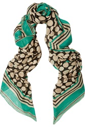 Issa Aimiee Printed Modal Scarf Green