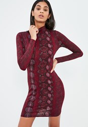 Missguided Burgundy Roll Neck Snake Print Bodycon Dress