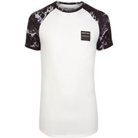 River Island White Marble Raglan Sleeve Muscle Fit T Shirt