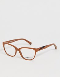 Emporio Armani Clear Lens Glasses With Brown Frame