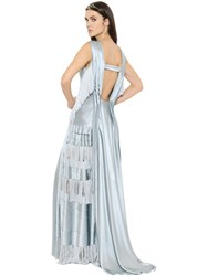 Alberta Ferretti Fringed Silk Satin Gown
